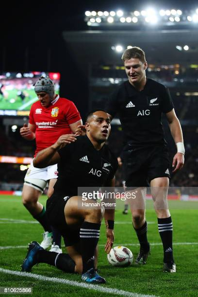 Ngani Laumape of the All Blacks celebrates after soring a try during the Test match between the New Zealand All Blacks and the British Irish Lions at...