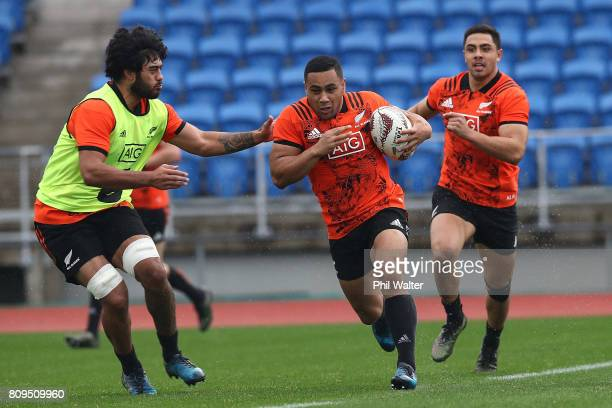 Ngani Laumape of the All Blacks during a New Zealand All Blacks training session at Eden Park on July 6 2017 in Auckland New Zealand