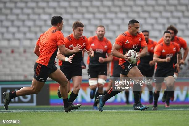 Ngani Laumape of the All Blacks during the New Zealand All Blacks Captains Run at Eden Park on July 7 2017 in Auckland New Zealand