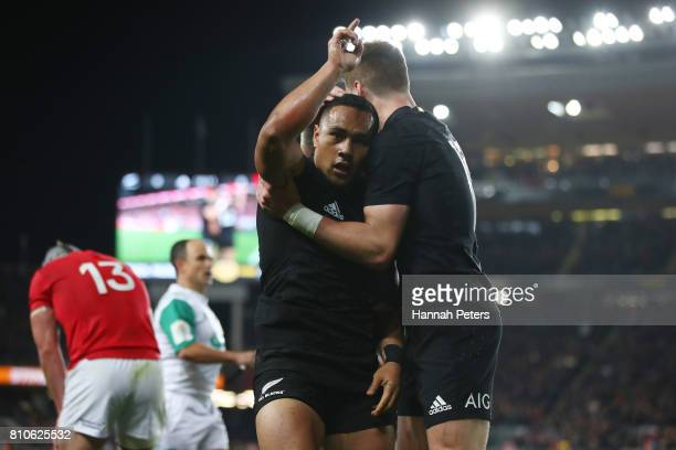 Ngani Laumape of the All Blacks is congratulated by teammate Jordie Barrett of the All Blacks after scoring the opening try during the third test...