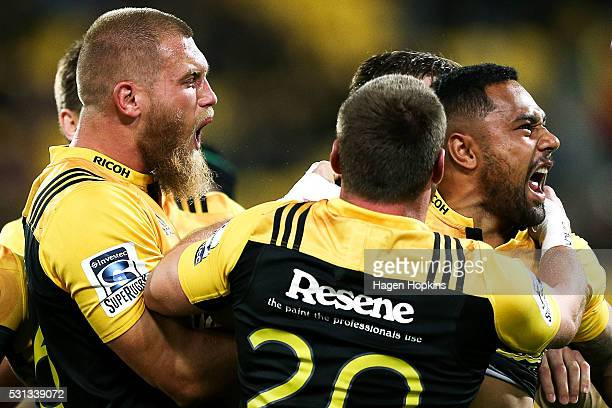 Ngani Laumape of the Hurricanes celebrates his try with teammate Brad Shields during the round 12 Super Rugby match between the Hurricanes and the...