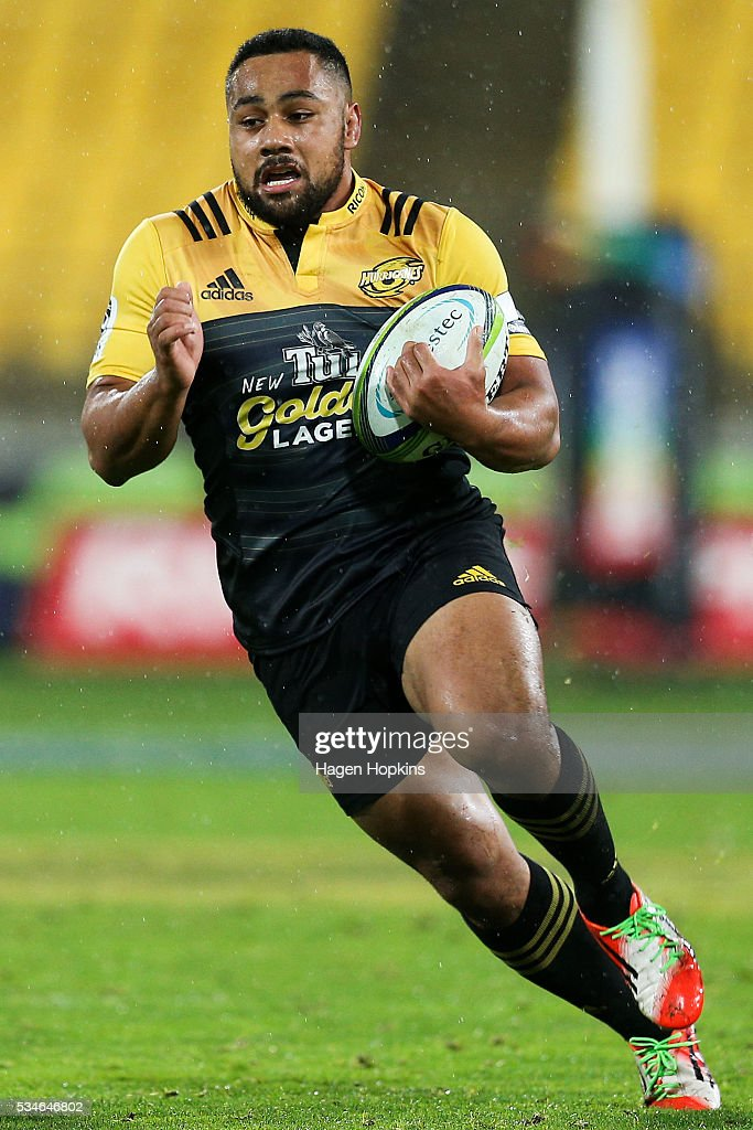 Ngani Laumape of the Hurricanes in action during the round 14 Super Rugby match between the Hurricanes and the Highlanders at Westpac Stadium on May 27, 2016 in Wellington, New Zealand.