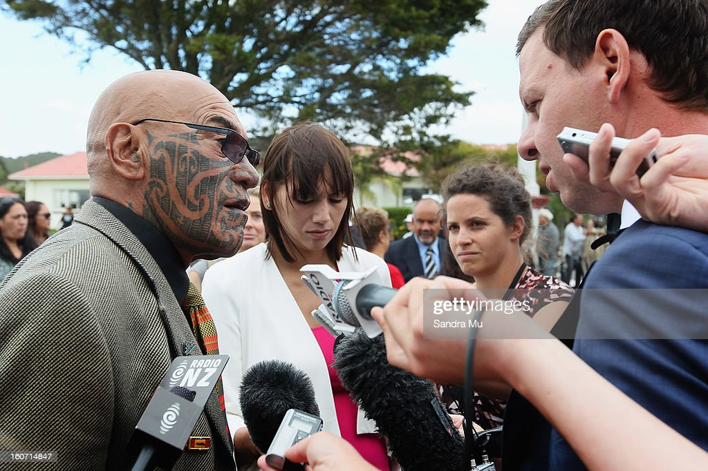 Ngapuhi elder Kingi Taurua (L) talks to media at Te Tii Marae on February 5, 2013 in Waitangi, New Zealand. The Waitangi Day national holiday celebrates the signing of the treaty of Waitangi on February 6, 1840 by Maori chiefs and the British Crown, that granted the Maori people the rights of British Citizens and ownership of their lands and other properties.