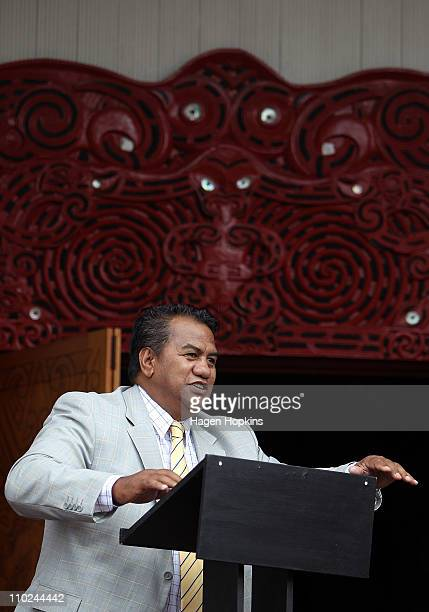 Ngati Toa spokesperson Taku Parai speaks during a signing ceremony to announce the ageement between Ngati Toa and the New Zealand Rugby Union at...