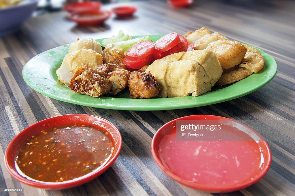 Ngo Hiang Dish with Sausage Tofu Fishballs and Dipping Sauce : Stock Photo