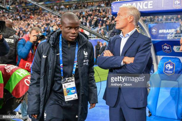 Ngolo Kante and Didier Deschamps coach of France during the Fifa 2018 World Cup qualifying match between France and Belarus on October 10 2017 in...