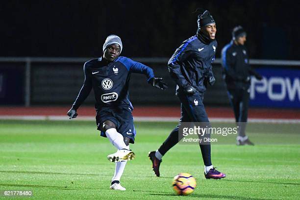 Ngolo Kante and Djibril Sidibe of France during training session of the french national team at Centre National du Football on November 8 2016 in...