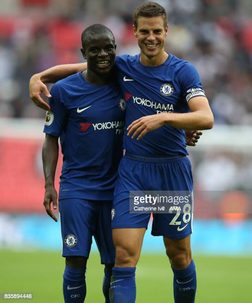 NÕgolo Kante of Chelsea and Cesar Azpilicueta of Chelsea after the Premier League match between Tottenham Hotspur and Chelsea at Wembley Stadium on...