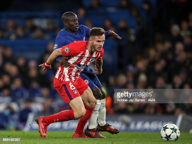 Ngolo Kante of Chelsea and Saul Niguez of Atletico Madrid during the UEFA Champions League group C match between Chelsea FC and Atletico Madrid at...