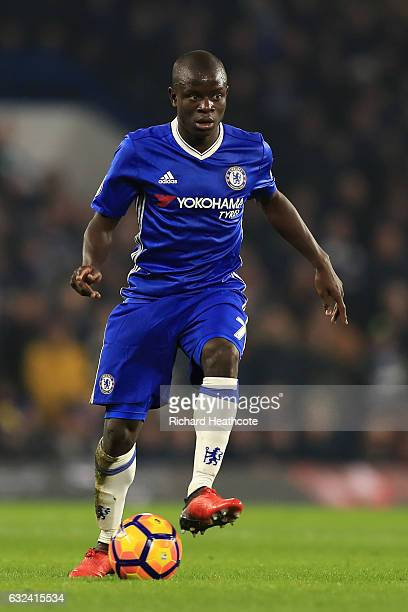 Ngolo Kante of Chelsea in action during the Premier League match between Chelsea and Hull City at Stamford Bridge on January 22 2017 in London England