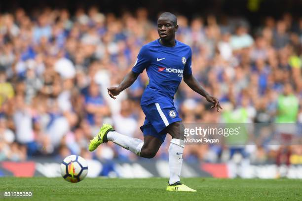 Ngolo Kante of Chelsea in action during the Premier League match between Chelsea and Burnley at Stamford Bridge on August 12 2017 in London England