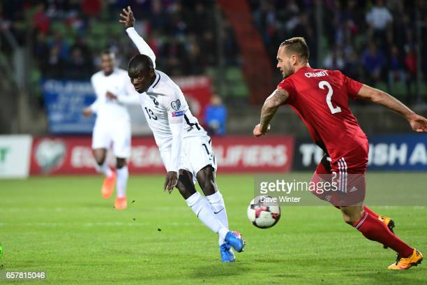 Ngolo Kante of France and Stefano Bensi of Luxembourg during the FIFA World Cup 2018 qualifying match between Luxembourg and France on March 25 2017...