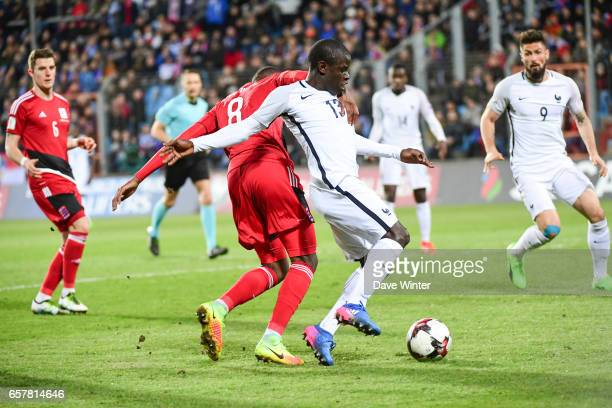 Ngolo Kante of France bursts into the Luxembourg penalty area during the FIFA World Cup 2018 qualifying match between Luxembourg and France on March...