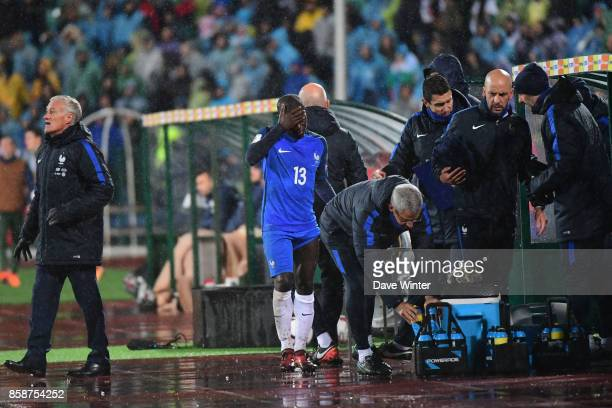 Ngolo Kante of France has to go off injured during the Fifa 2018 World Cup qualifying match between Bulgaria and France on October 7 2017 in Sofia...