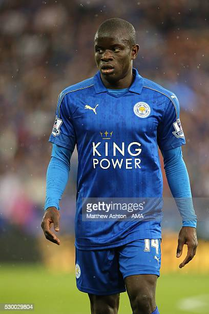 Ngolo Kante of Leicester City during the Barclays Premier League match between Leicester City and Everton at The King Power Stadium on May 7 2016 in...