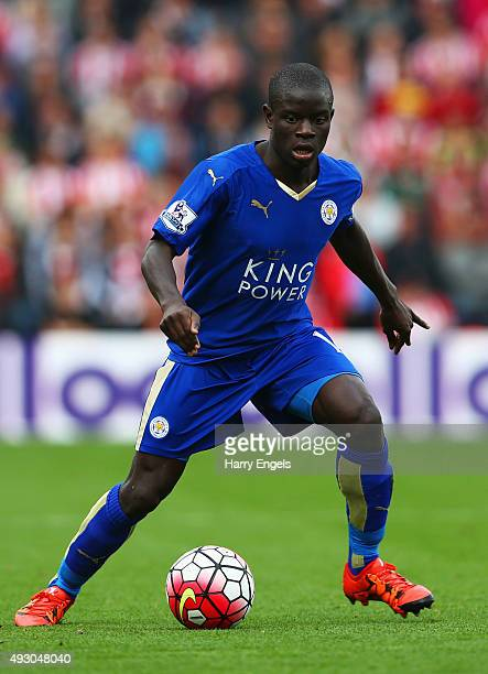 Ngolo Kante of Leicester City in action during the Barclays Premier League match between Southampton and Leicester City at St Mary's Stadium on...