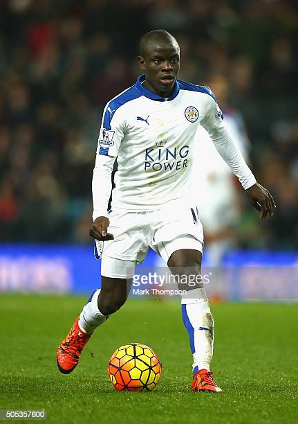Ngolo Kante of Leicester City in action during the Barclays Premier League match between Aston Villa and Leicester City at Villa Park on January 16...