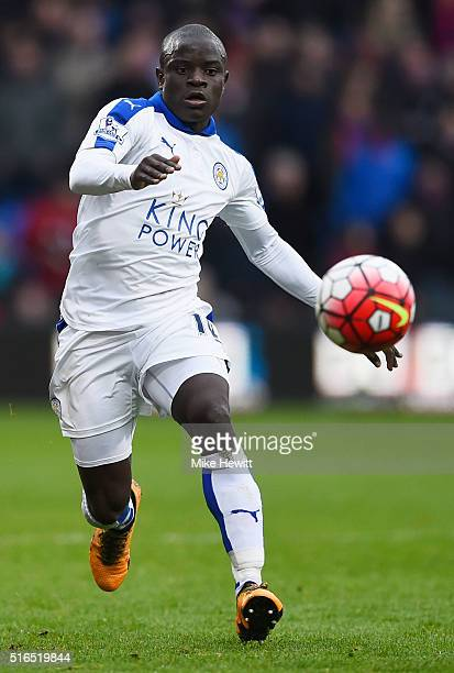 Ngolo Kante of Leicester City in action during the Barclays Premier League match between Crystal Palace and Leicester City at Selhurst Park on March...