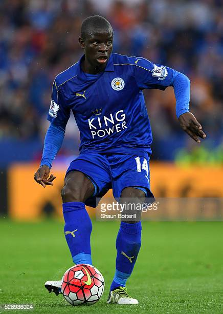 Ngolo Kante of Leicester City in action during the Barclays Premier League match between Leicester City and Everton at The King Power Stadium on May...