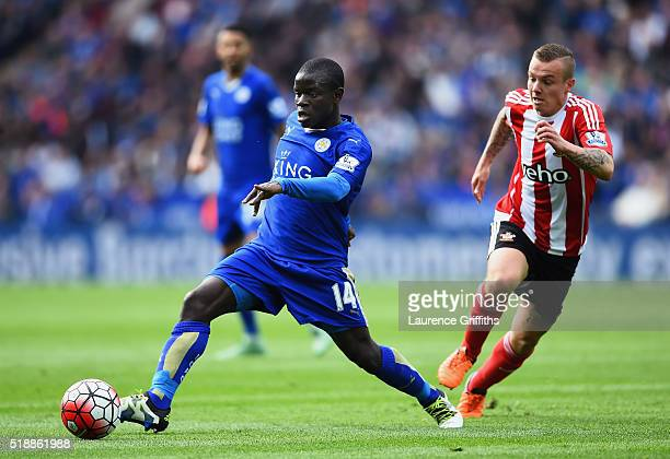 Ngolo Kante of Leicester City is watced by Jordy Clasie of Southampton during the Barclays Premier League match between Leicester City and...