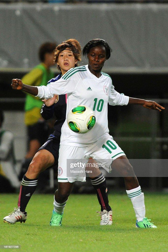 Ngozi Okobi #10 of Nigeria in action during the Women's international friendly match between Japan and Nigeria at Fukuda Denshi Arena on September 26, 2013 in Chiba, Japan.