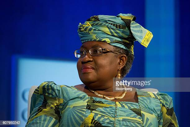 Ngozi OkonjoIweala former chair of the Gavi and former finance minister of Nigeria listens in a panel discussion during the annual meeting of the...