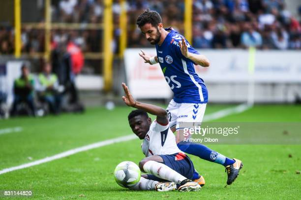 Nguessan Kouame of Lille and Benjamin Corgnet of Strasbourg during the Ligue 1 match between Racing Club Strasbourg and Lille OSC at Stade de la...