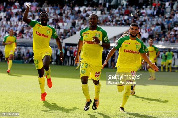 Nguimbe Nakoulma of FC Nantes reacts after his goal during the Ligue 1 match between FC Girondins de Bordeaux and FC Nantes at Stade Matmut...