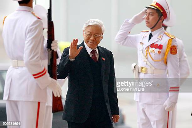 Nguyen Phu Trong General Secretary of the Communist Party of Vietnam arrives for the Opening ceremony of the 12th National Congress of Vietnam's...