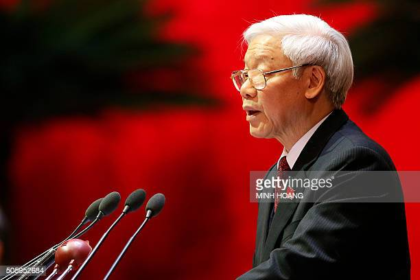 Nguyen Phu Trong General Secretary of the Communist Party of Vietnam delivers a speech during the Opening ceremony of The 12th National Congress of...