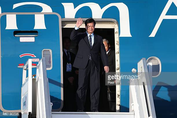 Nguyen Tan Dung President of Vietnam arrives at Amsterdam Schiphol Airport to attend the 2014 Nuclear Security Summit March 23 2014 in Haarlemmermeer...
