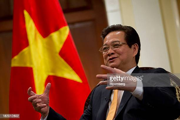 Nguyen Tan Dung Vietnam's prime minister speaks during an interview in New York US on Friday Sept 27 2013 Vietnams economic growth quickened this...