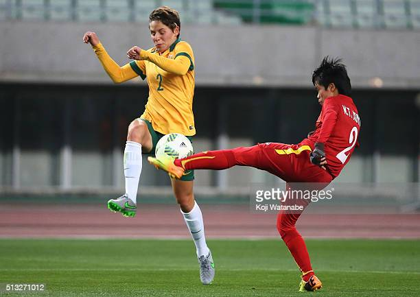Nguyen Thi Xuyen of Vietnam and Larissa Crummer of Australia compete for the ball during the AFC Women's Olympic Final Qualification Round match...