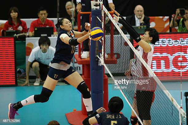 Ni Yan of China pushes the ball in the match between Japan and China during the FIVB Women's Volleyball World Cup Japan 2015 at Nippon Gaishi Hall on...