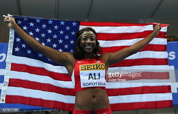 Nia Ali of the United States celebrates winning the gold medal in the Women's 60m Hurdles Final during day two of the IAAF World Indoor Championships...