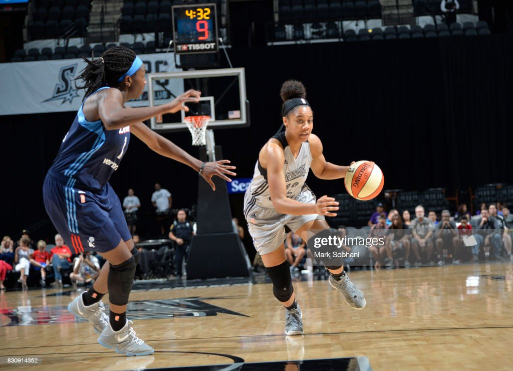 Nia Coffey #12 of the San Antonio Stars handles the ball against the Atlanta Dream on August 12, 2017 at the AT&T Center in San Antonio, Texas.