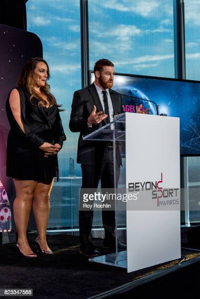 Nia Jax and Sami Zayn present the Courageous Use of Sport award presented by WWE during the Beyond Sport Global Awards on July 26 2017 in New York...