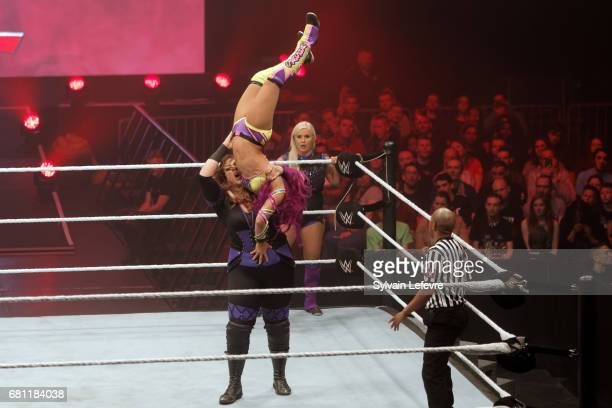 Nia Jax fights against Sasha Banks during WWE Live 2017 at Zenith Arena on May 9 2017 in Lille France