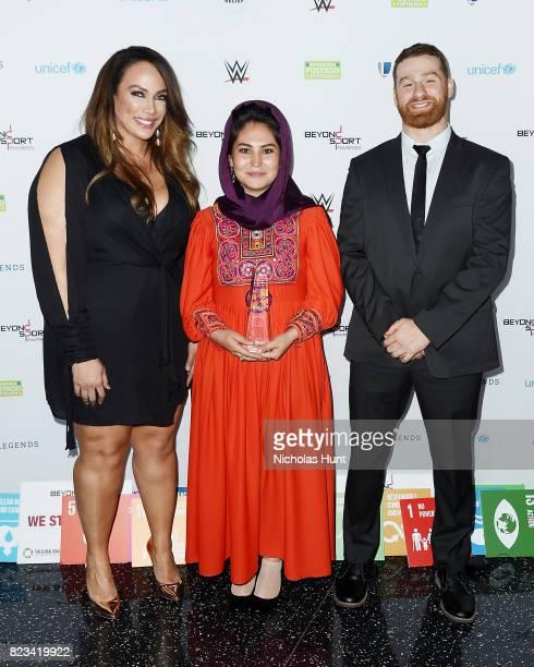 Nia Jax Hajar Abulfazl and Sami Zayn attend the Beyond Sport Global Awards on July 26 2017 in New York City