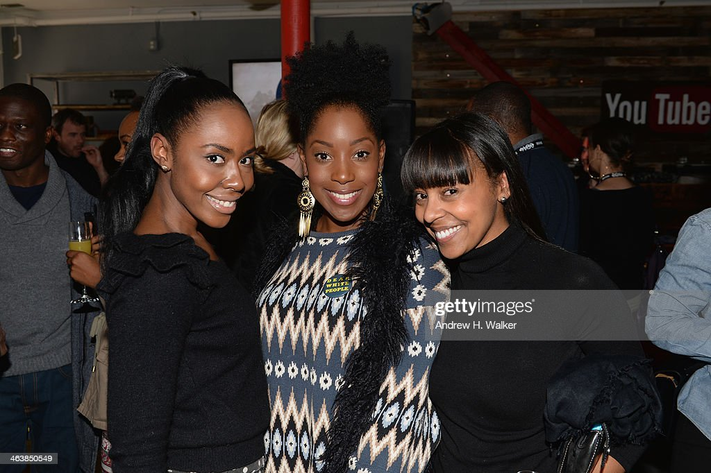 Nia Jervier, Ashley Blaine Featherson and guest attend the YouTube 'Dear White People' Reception on January 20, 2014 in Park City, Utah.