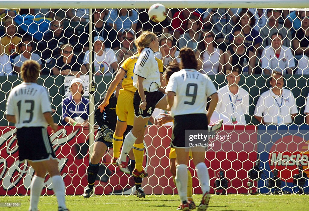 Nia Kuenzer of Germany scores the game winning goal over Sweden in the FIFA Women''s World Cup Final on October 12 2003 at the Home Depot Center in...