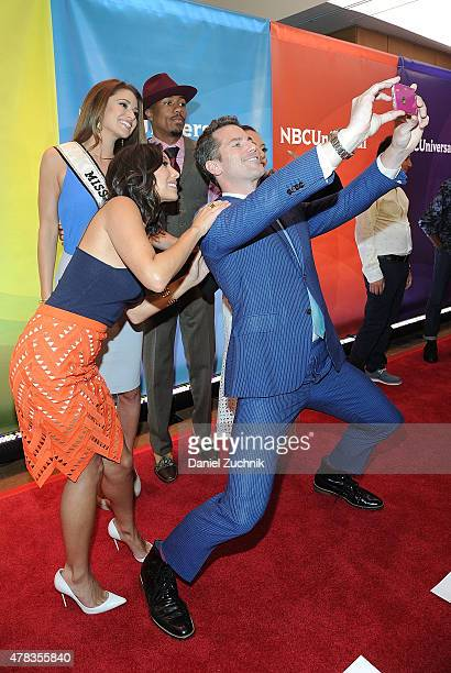 Nia Sanchez Nick Cannon Mel B Cheryl Burke and Thomas Roberts attend the 2015 NBC New York Summer Press Day at Four Seasons Hotel New York on June 24...