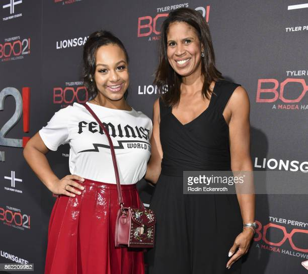 Nia Sioux and mom Holly Frazier arrive at the premiere of Lionsgate's 'Tyler Perry's Boo 2 A Madea Halloween' at Regal LA Live Stadium 14 on October...