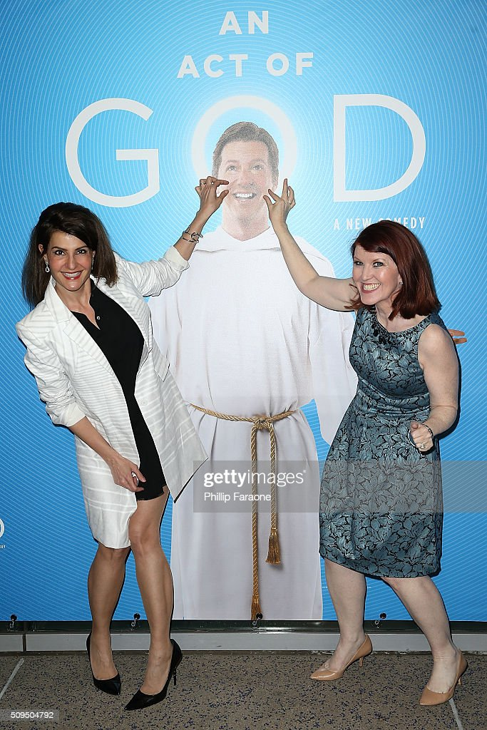 Nia Vardalos and Kate Flannery attend opening night of 'An Act of God' at Ahmanson Theatre on February 10 2016 in Los Angeles California