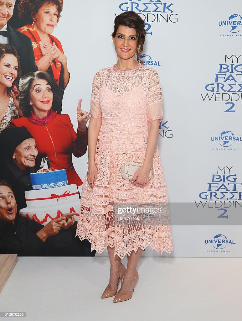 Nia Vardalos arrives ahead of the Sydney premiere of My Big Fat Greek Wedding 2 at Event Cinemas George Street on March 6 2016 in Sydney Australia