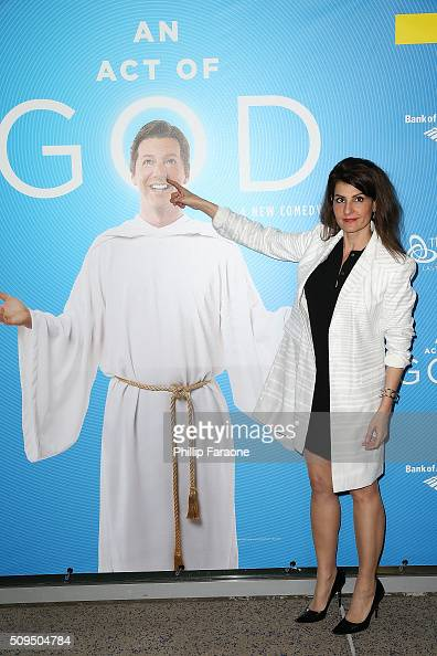 Nia Vardalos attends opening night of 'An Act of God' at Ahmanson Theatre on February 10 2016 in Los Angeles California