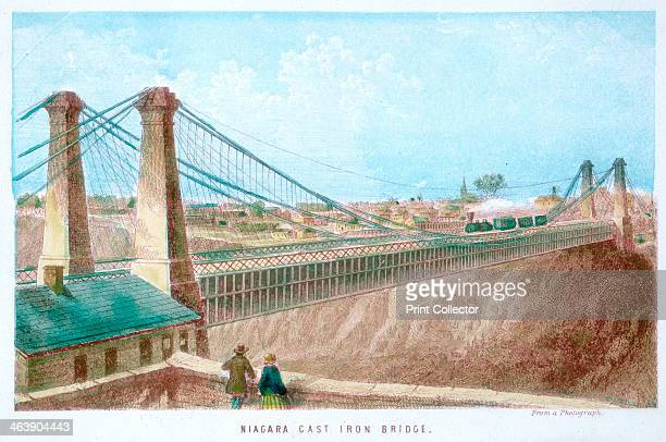 'Niagara Cast Iron Bridge' New York USA The railway bridge connecting Canada and the USA across the Niagara River was engineered by John Augustus...