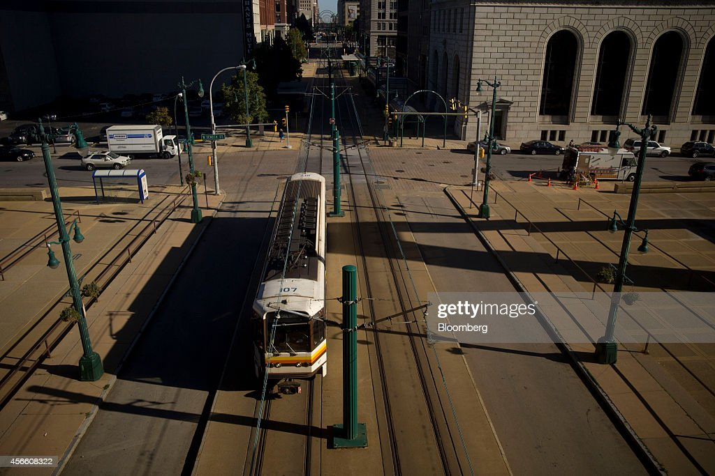 A Niagara Frontier Transportation Authority Metro Rail train travels on Main Street in Buffalo New York US on Wednesday Sept 24 2014 The Federal...