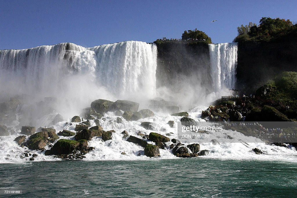 Part of the American portion of Niagara Falls are seen 08 October 2006 from aboard the Maid of the Mist on the Niagara River AFP PHOTO/Don EMMERT