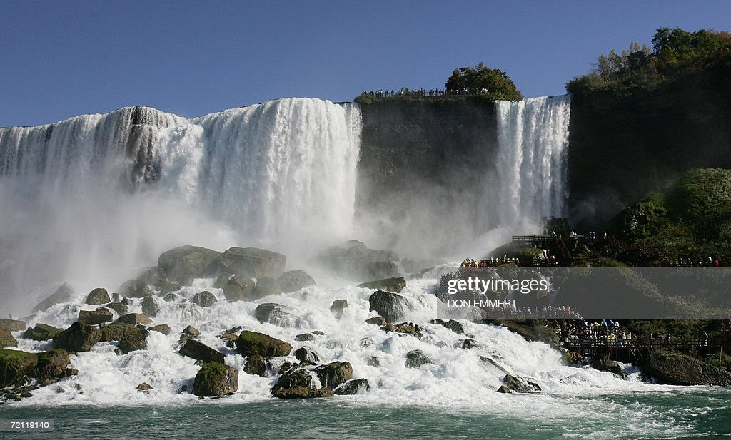 The American portion of Niagara Falls are seen 08 October 2006 from aboard the Maid of the Mist on the Niagara River AFP PHOTO/Don EMMERT
